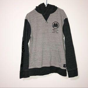 American eagle double gray hooded sweatshirt small